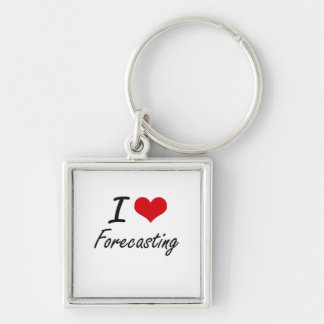 I love Forecasting Silver-Colored Square Keychain
