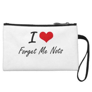 I love Forget Me Nots Wristlet Purse