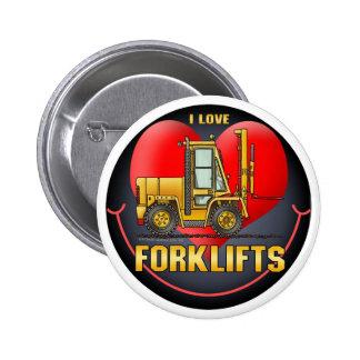 I Love Forklift Trucks Button Pin