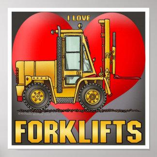 I Love Forklift Trucks Poster Print