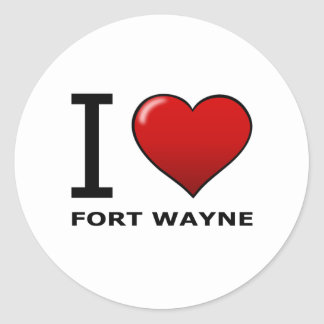 I LOVE FORT WAYNE, IN - INDIANA ROUND STICKERS
