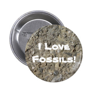 I Love Fossils! (Fossil Hash Print) Button