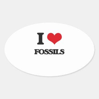 i LOVE fOSSILS Oval Sticker