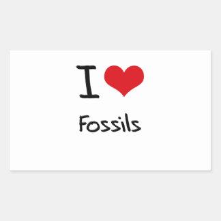 I Love Fossils Rectangular Stickers