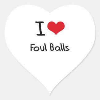 I Love Foul Balls Heart Sticker