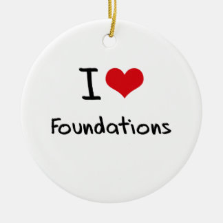 I Love Foundations Double-Sided Ceramic Round Christmas Ornament
