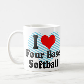 I love Four Base Softball Classic White Coffee Mug