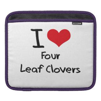 I Love Four Leaf Clovers iPad Sleeve