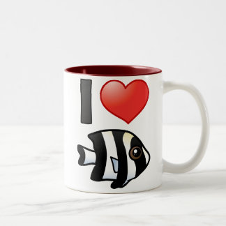 I Love Four Stripe Damselfish Two-Tone Coffee Mug