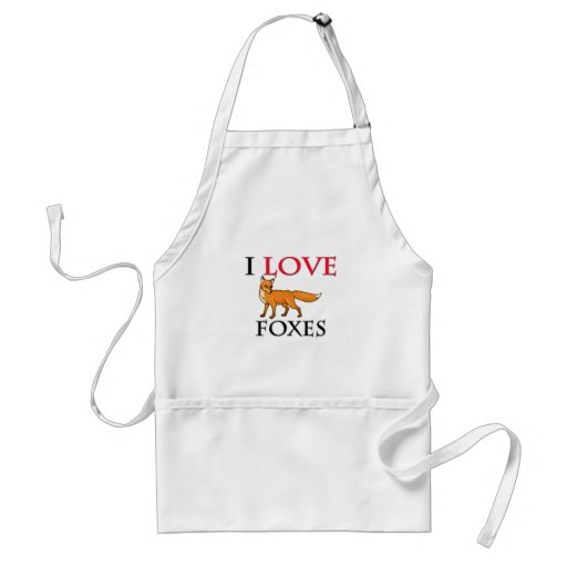 I Love Foxes Adult Apron