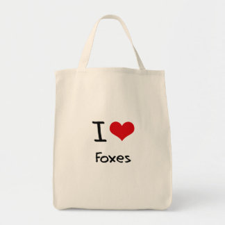 I Love Foxes Grocery Tote Bag