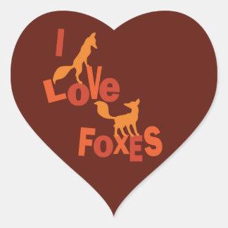I Love Foxes Heart Sticker
