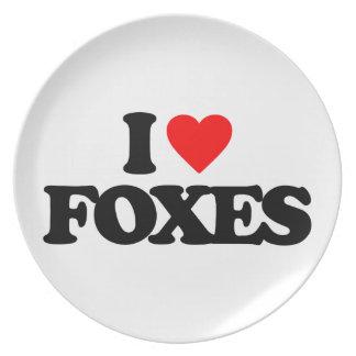 I LOVE FOXES MELAMINE PLATE