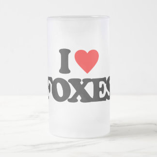 I LOVE FOXES 16 OZ FROSTED GLASS BEER MUG