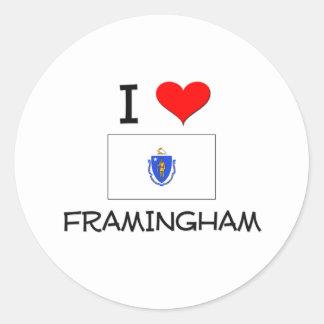 I Love Framingham Massachusetts Classic Round Sticker