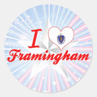 I Love Framingham, Massachusetts Classic Round Sticker