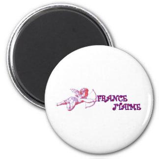 I love France 2 Inch Round Magnet