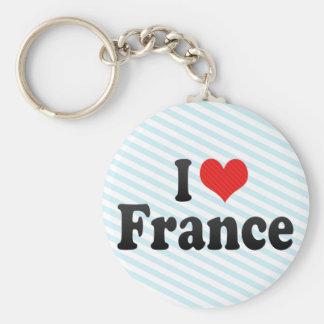 I Love France Basic Round Button Keychain