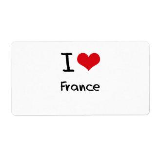 I Love France Custom Shipping Label