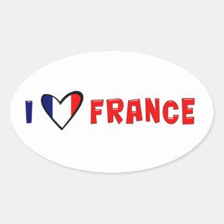 I Love France Oval Sticker