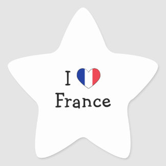 I Love France Star Sticker