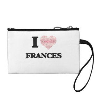 I love Frances (heart made from words) design Change Purses