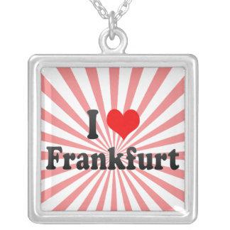 I Love Frankfurt, Germany Square Pendant Necklace