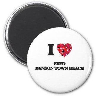 I love Fred Benson Town Beach Rhode Island 2 Inch Round Magnet