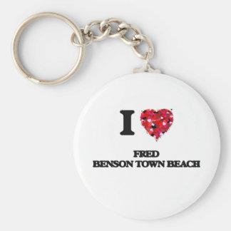 I love Fred Benson Town Beach Rhode Island Basic Round Button Keychain