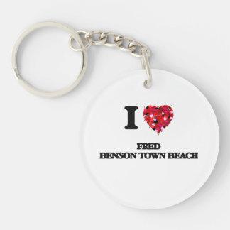 I love Fred Benson Town Beach Rhode Island Single-Sided Round Acrylic Keychain