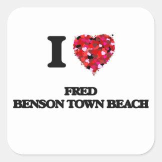I love Fred Benson Town Beach Rhode Island Square Sticker