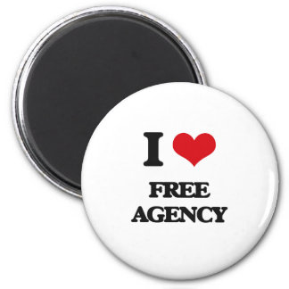 i LOVE fREE aGENCY 2 Inch Round Magnet