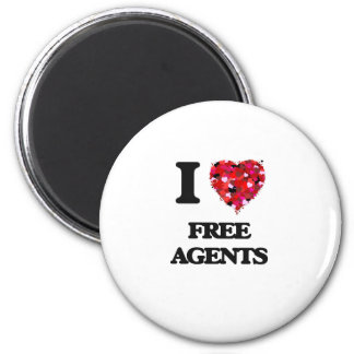I Love Free Agents 2 Inch Round Magnet