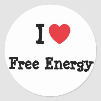 I love Free Energy heart custom personalized Classic Round Sticker