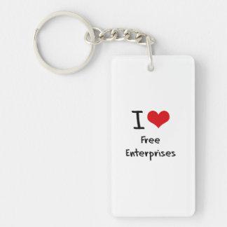 I Love Free Enterprises Single-Sided Rectangular Acrylic Keychain