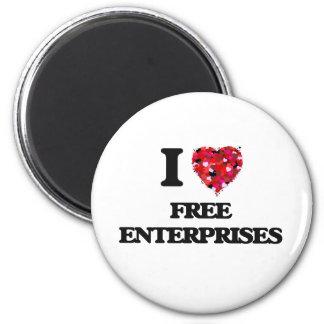 I Love Free Enterprises 2 Inch Round Magnet