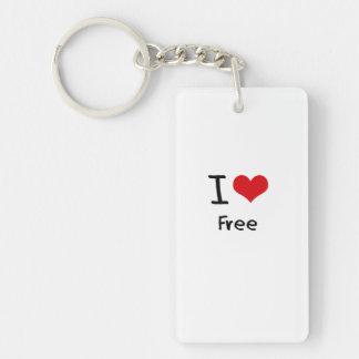 I Love Free Single-Sided Rectangular Acrylic Keychain