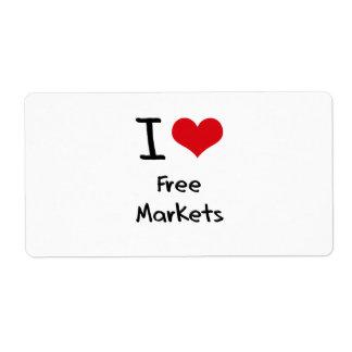 I Love Free Markets Custom Shipping Labels