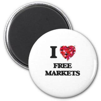 I Love Free Markets 2 Inch Round Magnet