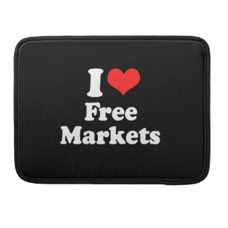 I LOVE FREE MARKETS png Sleeve For MacBooks