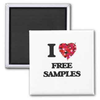 I Love Free Samples 2 Inch Square Magnet