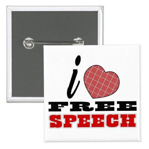 I Love Free Speech 2 Inch Square Button