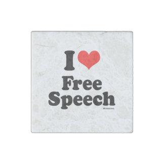 I LOVE FREE SPEECH STONE MAGNET