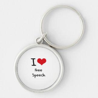 I Love Free Speech Keychain