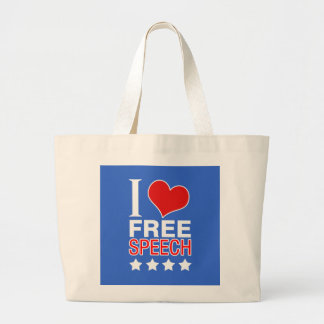 I love free speech large tote bag