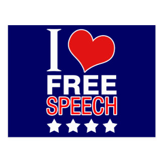 I love free speech postcard