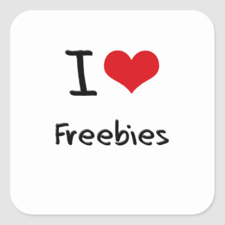 I Love Freebies Square Stickers