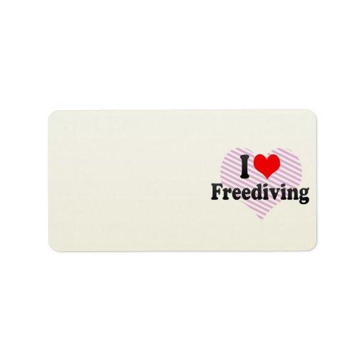 I love Freediving Address Label