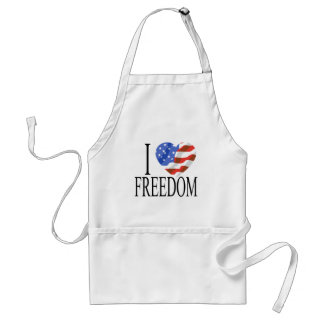 I Love Freedom US Flag Heart American Free Adult Apron