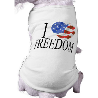 I Love Freedom US Flag Heart American Free Pet Tee